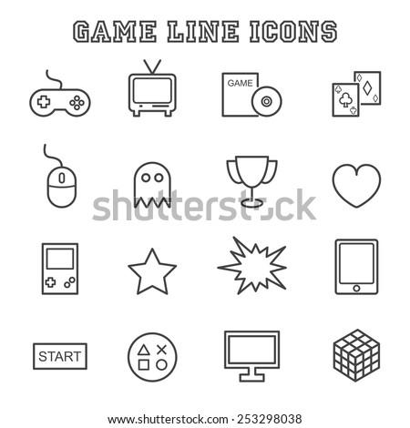game line icons, mono vector symbols - stock vector