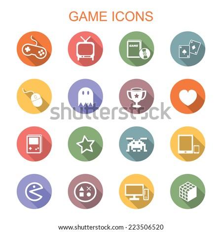 game long shadow icons, flat vector symbols - stock vector
