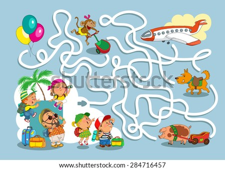 Game-maze for children. Funny cartoon. Vector illustration.