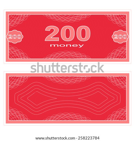 Game money. Set on a white background. Banknote two hundred money. - stock vector