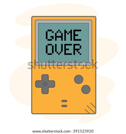Game Over, a hand drawn vector illustration of a handheld gaming device with GAME OVER shows up on the screen (editable). - stock vector