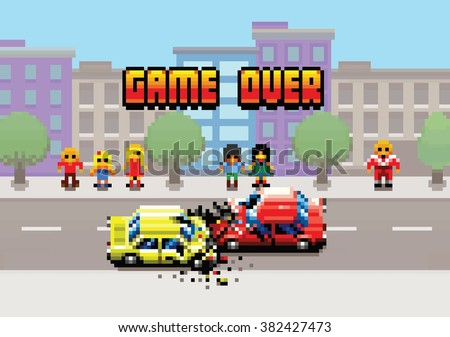 Game Over - damaged cars after collision in the city, pixel art layers illustration