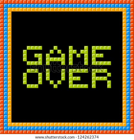 Game Over Message in Pixel Block - stock vector