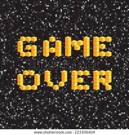 Game over screen, old school gaming poster, failure concept - stock vector