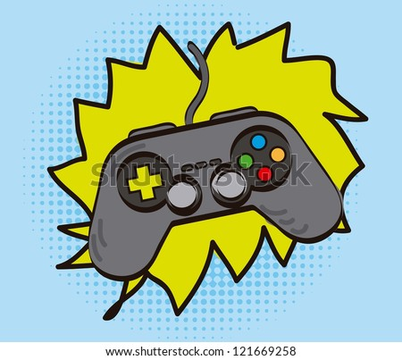 game pad over cartoon background, hand drawing. vector illustration - stock vector
