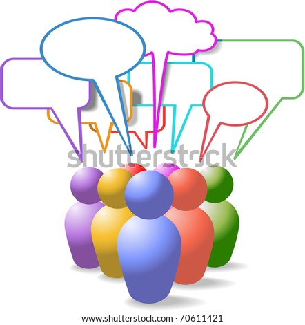 Game piece style symbol people talk in colorful social media copy space speech bubbles - stock vector