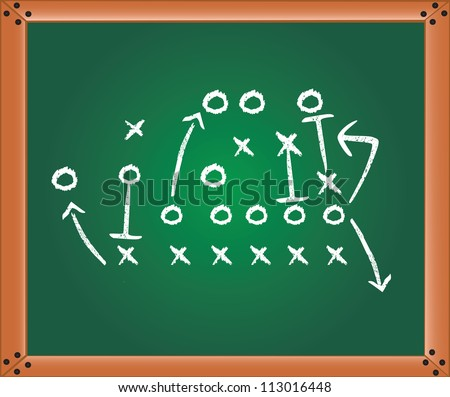 Game plan, soccer play illustrated with chalk on a blackboard, vector illustration - stock vector