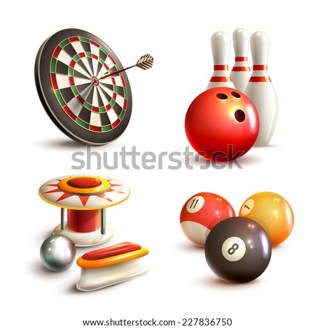 Game realistic icons set with bowling pinball billiard darts isolated vector illustration - stock vector