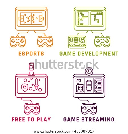 Game related concepts, line style. Part 2. Vector illustration.