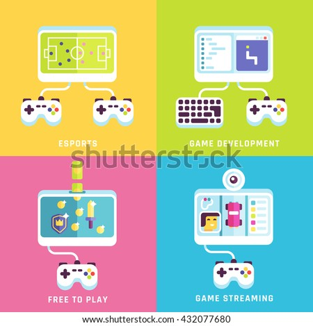 Game related concepts. Part 2. Vector illustration.