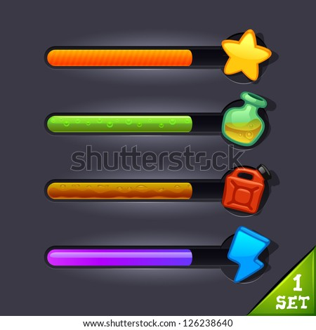 game resource bar-set 1 - stock vector