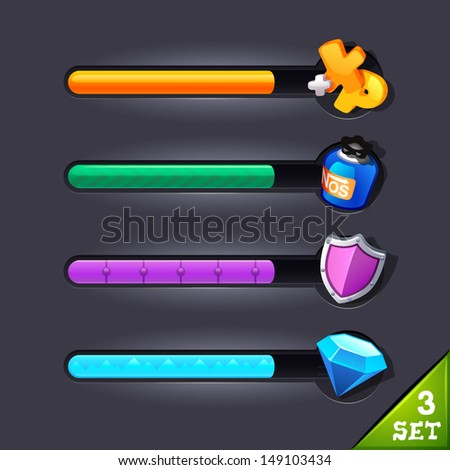 game resource bar-set 3 - stock vector
