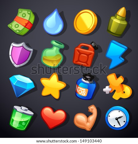 Game resources icons - stock vector
