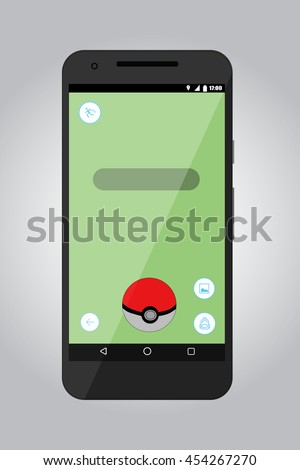 Game screen application. Pokemon Go interface screen. Flat vector stock illustration - stock vector