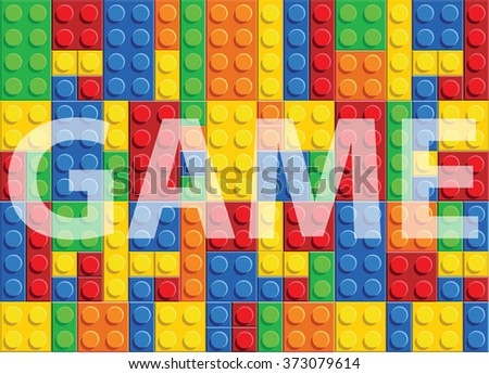 Game - seamless vector pattern of plastic parts - stock vector
