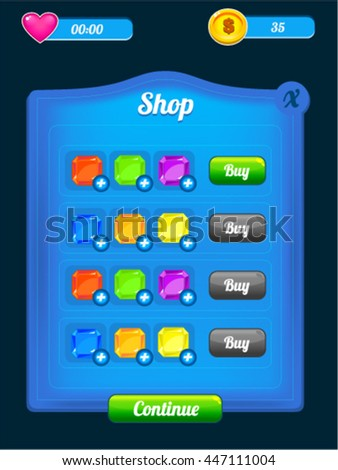 Game Shop Screen Assets for In App Purchases - reskin mobile