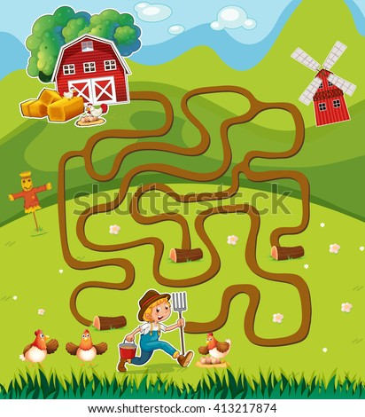 Game template with farmer in the farmyard illustration - stock vector