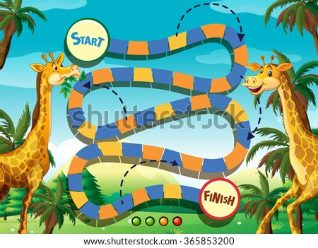 Game template with giraffe in the jungle background illustration