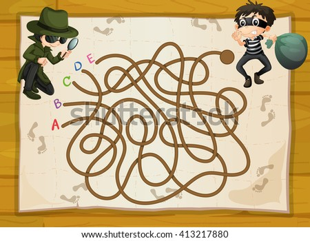 Game template with spy and criminal illustration - stock vector