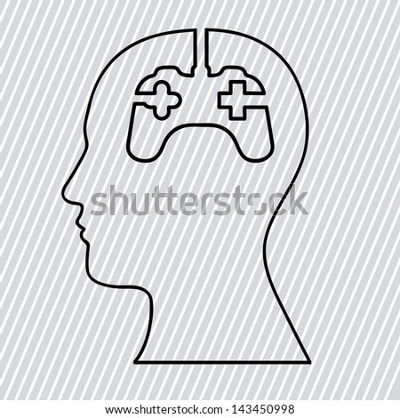 game think over lineal background vector illustration - stock vector