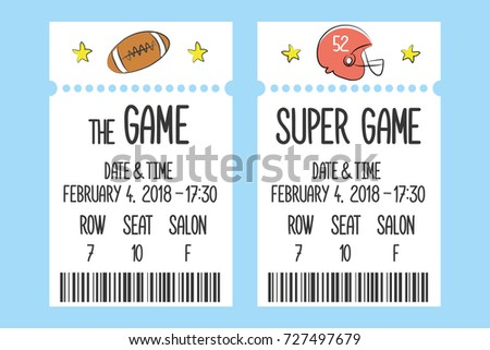 Game Ticket Templatecool Doodle Vector Illustration Stock Vector ...