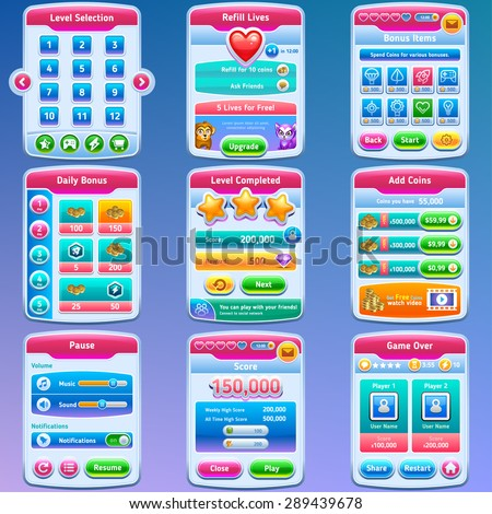 Game UI. Complete set of graphical user interface to build 2D games. Vector eps 10. - stock vector