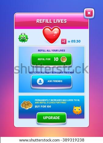 Game UI. Energy refill lives screen. Creative concept vector interface game design. - stock vector