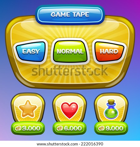 Game UI. Level complexity screen. Vector eps 10. - stock vector