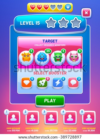 Game UI. Level screen. Creative concept vector interface game design. Cute tiny monsters.