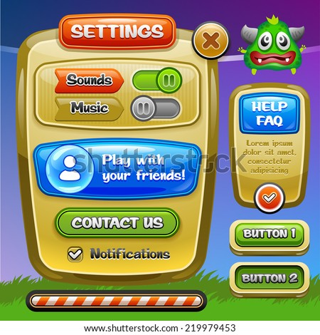 Game UI. Settings window. A funny cartoon design ui game options control panel including status and level bars. Vector eps 10.