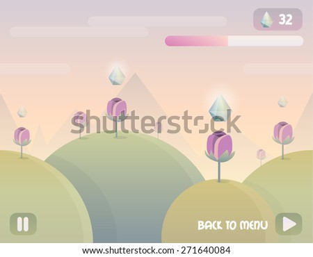 game user interface background landscape level design with seamless repeating hills, mountains and clouds. Game buttons and elements, flowers, gem crystals and energy bar - stock vector