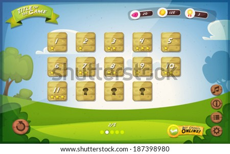 Game User Interface Design/ Illustration of a funny spring graphic gui background, in cartoon style with basic buttons and functions, status bar, vintage retro background, for wide screen tablet - stock vector