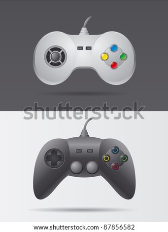 Gamepad different variations - stock vector