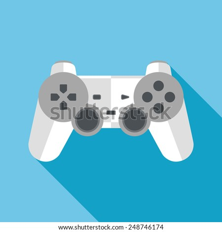 gamepad flat icon with long shadow - stock vector