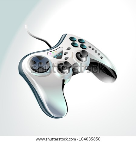 Gamepad. Silver controller for video games - stock vector