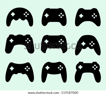 Gamepads silhouettes - stock vector