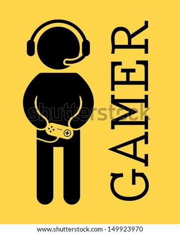 gamer design over yellow background vector illustration - stock vector