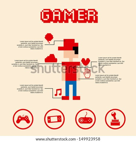 gamer pixel over pink background vector illustration  - stock vector