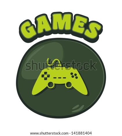 games console cartoon button two - stock vector