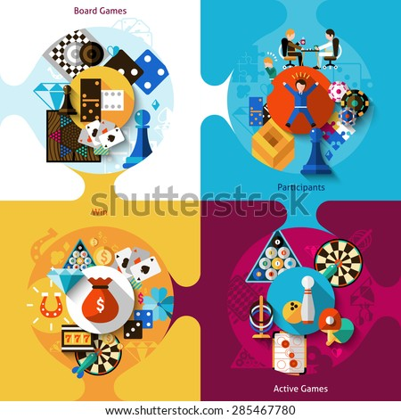Games design concept set with board table active sport flat icons isolated vector illustration - stock vector