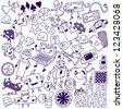 Games doodle set. School notebook. - stock vector