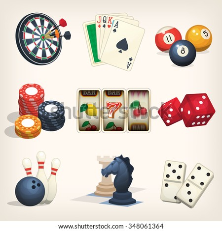Games equipment icons for leisure games, casino and bar sports.  - stock vector