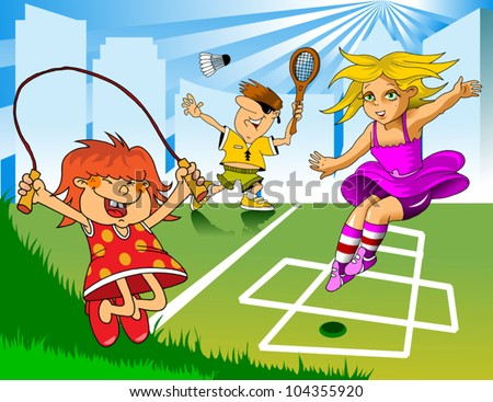 Games in the playground. Children playing jump rope and badminton;