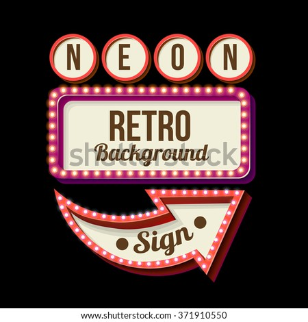 Games signboard. Night light. Casino with neon lights. Signboard with retro lights. Retro sign. Vintage neon lights. Background for a text. 3D sign. Vector illustration. Retro arrow with lights. - stock vector