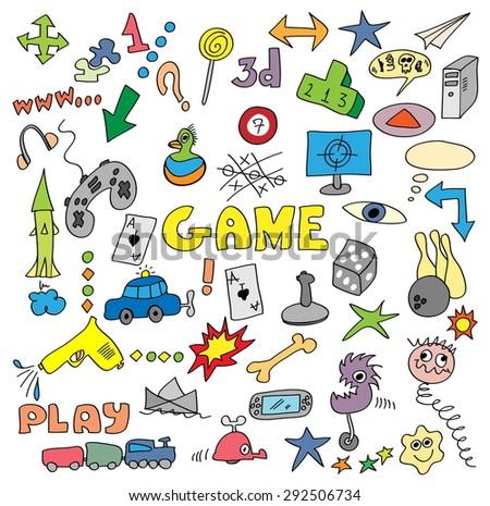 games, vector doodles set - stock vector