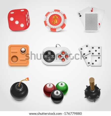 games vector icon set - stock vector