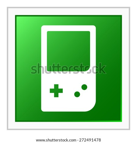 Gaming Device icon on a square button. - stock vector