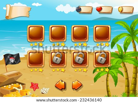 Gaming icons for beach themed game - stock vector