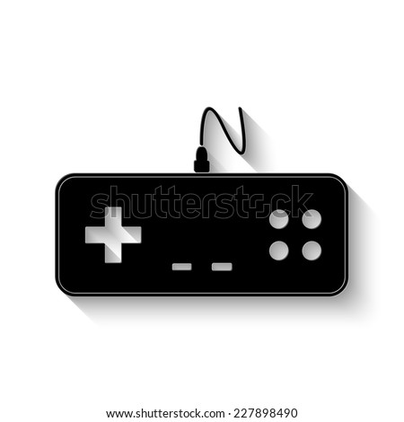 gaming joystick icon - vector illustration with shadow - stock vector