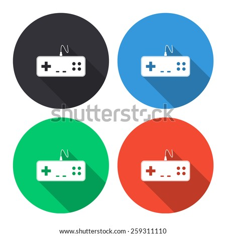 gaming joystick vector icon - colored(gray, blue, green, red) round buttons with long shadow - stock vector